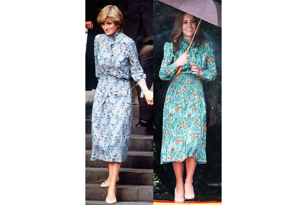 1981年,戴安娜在婚禮彩排時穿著藍色調的碎花連身裙,2017年,凱特參觀戴安娜王妃紀念花園時,穿藍綠色的碎花裙致,敬戴安娜。